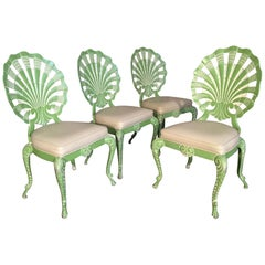 Set of 4 Shell Back Grotto Chairs in Cast Aluminium by Brown Jordan