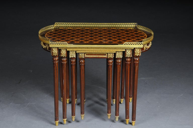 Set of 4 Side Tables Louis Seize XVI m. Marquetry Veneer For Sale 3