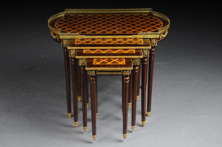 Set of 4 Side Tables Louis Seize XVI m. Marquetry Veneer For Sale 4