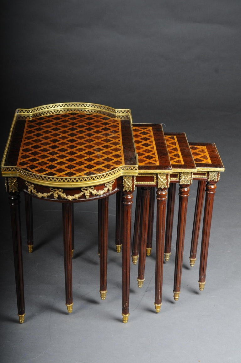 Set of 4 Side Tables Louis Seize XVI m. Marquetry Veneer For Sale 5