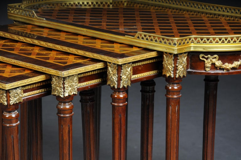 French Set of 4 Side Tables Louis Seize XVI m. Marquetry Veneer For Sale