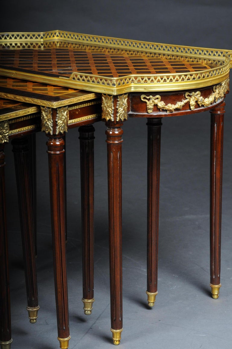 Hand-Carved Set of 4 Side Tables Louis Seize XVI m. Marquetry Veneer For Sale