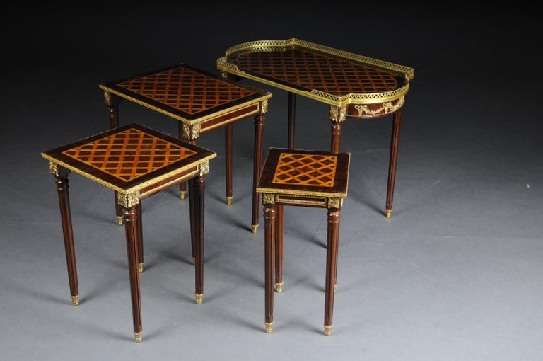 Brass Set of 4 Side Tables Louis Seize XVI m. Marquetry Veneer For Sale