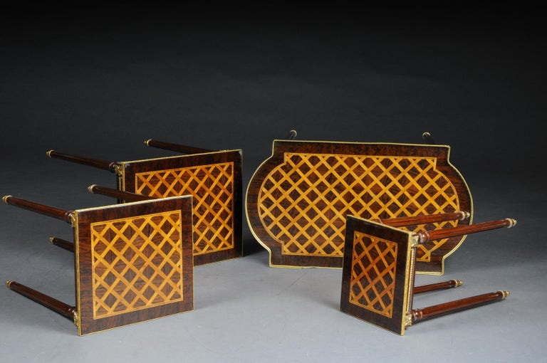 Set of 4 Side Tables Louis Seize XVI m. Marquetry Veneer For Sale 1
