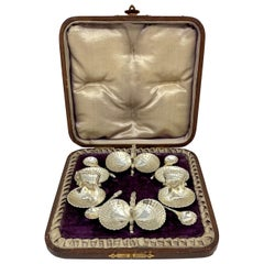 Set of 4 Silver Double Salt Cellars with Spoons in Original Box, circa 1900-1910