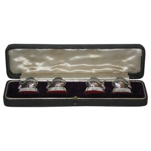 Set of 4 Silver Fish Place Card Holders, Dated 1913, Samson Mordan & Co.
