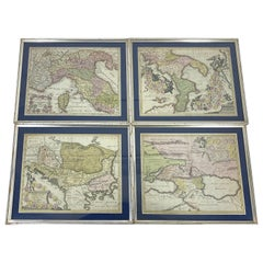 Set Of 4 Silver Gilded Framed Maps Of Italy And Danube In Blue Passe-Partout