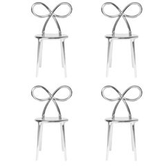 Set of 4 Silver Metallic Ribbon Chairs by Nika Zupanc, Made in Italy
