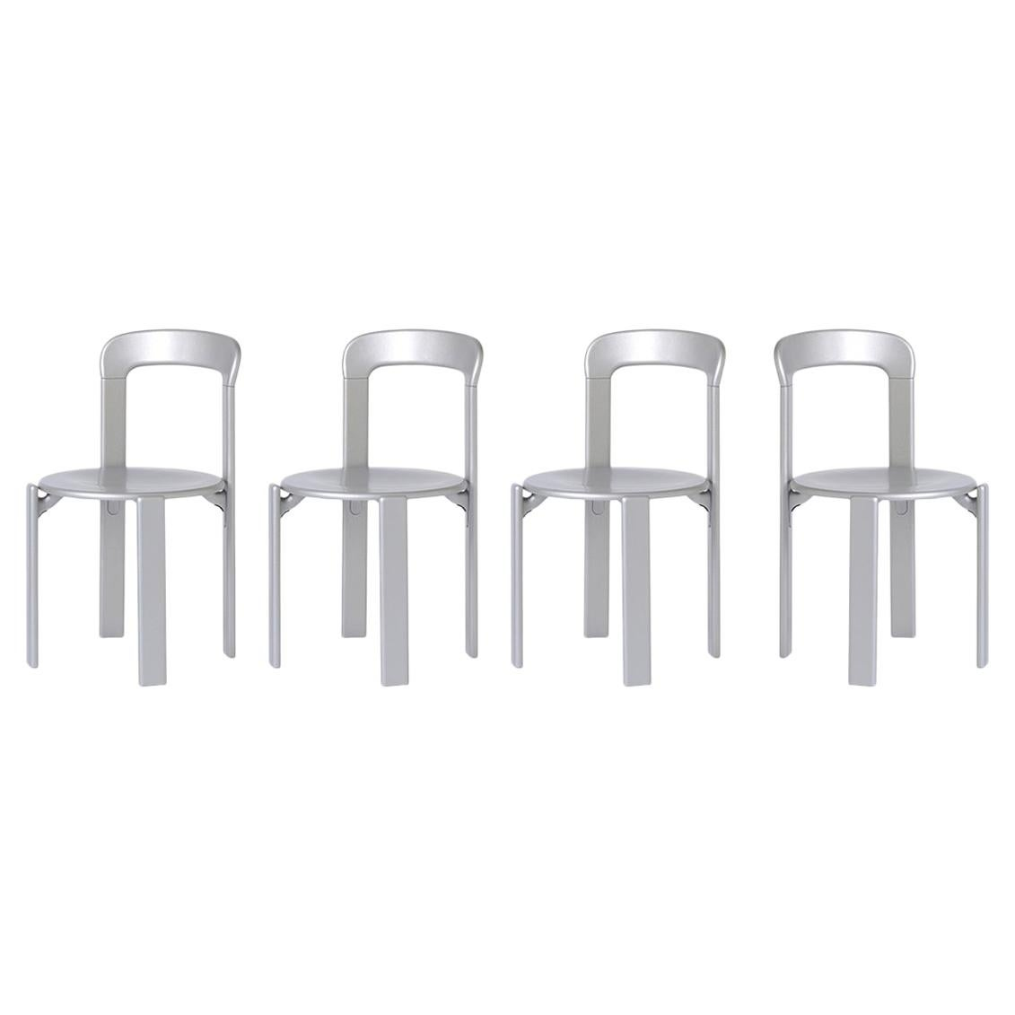 Set of 4 Silver Rey Chairs by Dietiker, a Swiss Icon, since 1971