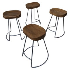 Set of 4 Silver Steel Polish Finish to Bases Solid Oak Top Counter Stools