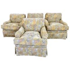 Set of 4 Skirted Bridgewater Style Club Chairs