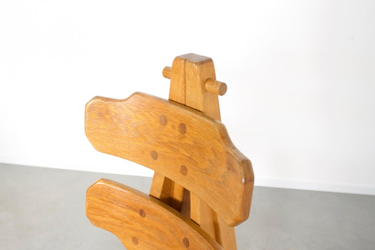 Set of 4 Solid Oak Brutalist Chairs, 1970s For Sale 1