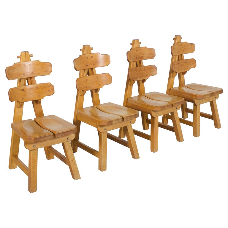Set of 4 Solid Oak Brutalist Chairs, 1970s For Sale