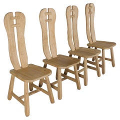 Set of 4 Solid Oak Brutalist Chairs by De Puyt, Belgium, 1970s