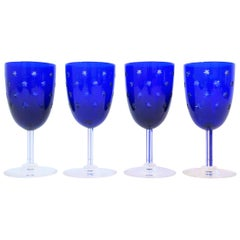 Set of 4 St Louis Crystal Cobalt Blue and Clear Wine Glasses