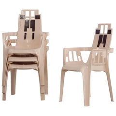 Set of 4 Stackable Plastic Chairs by Pierre Paulin for Henry Massonnet