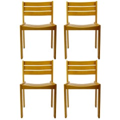 Set of 4 Stackable Wooden Dining Chairs by Wilkhahn