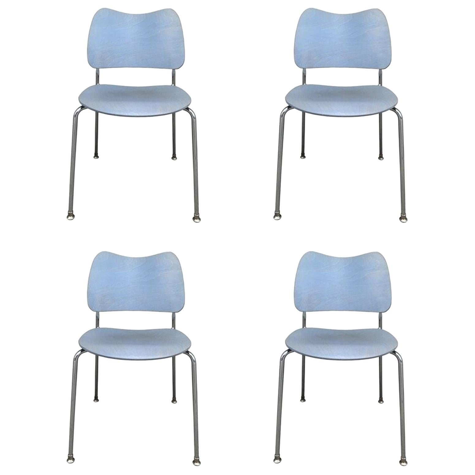 Set of 4 Stacking Chairs Made in Sweden by Lammhults Mobel