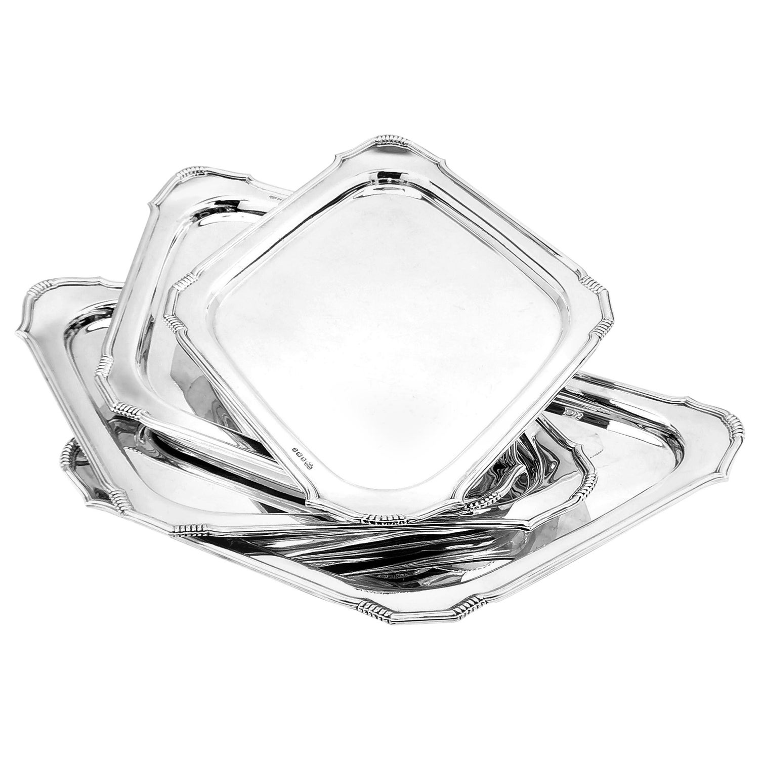 Set of 4 Sterling Silver Art Deco Serving Platters / Trays / Salvers 1956