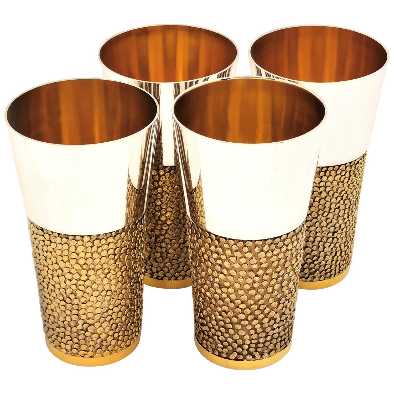 Set of 4 Sterling Silver Stuart Devlin Beakers / Cups 1969-1971 Silver Gilt