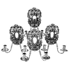 Set of 4 Sterling Silver Two-Light Candle Wall Sconces 1972 William III Style