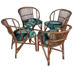 Set of 4 Stick Rattan Game Table Chairs