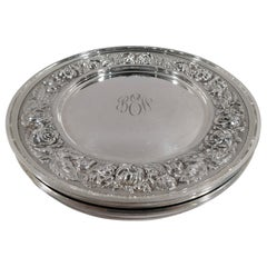 Set of 4 Stieff Baltimore Sterling Silver Bread and Butter Plates