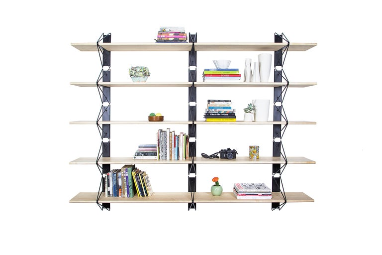 Powder-Coated Set of 4 Strut Shelves from Souda, Modern White Wood Wall Shelf/Bookcase For Sale