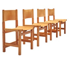 Set of 4 Swedish Dining Chairs in Pine and Leather