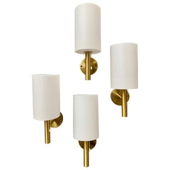 Set of 4 Swedish Modern Brass Wall Sconces, circa 1980