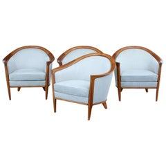 Set of 4 Swedish teak club armchairs by Bertil Fridhagen