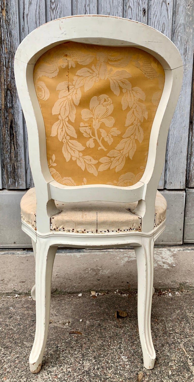 Set of 4 Swedish White Painted 19th Century Rococo Style Chairs For Sale 8
