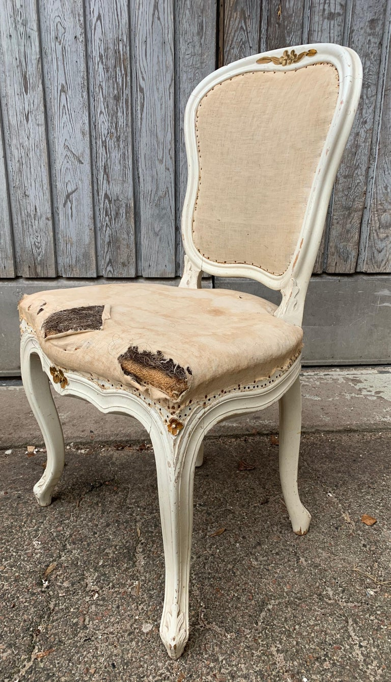Set of 4 Swedish White Painted 19th Century Rococo Style Chairs For Sale 9