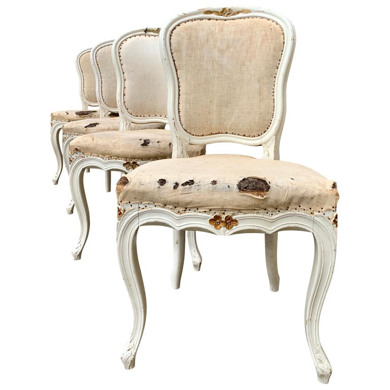 Beech Set of 4 Swedish White Painted 19th Century Rococo Style Chairs For Sale