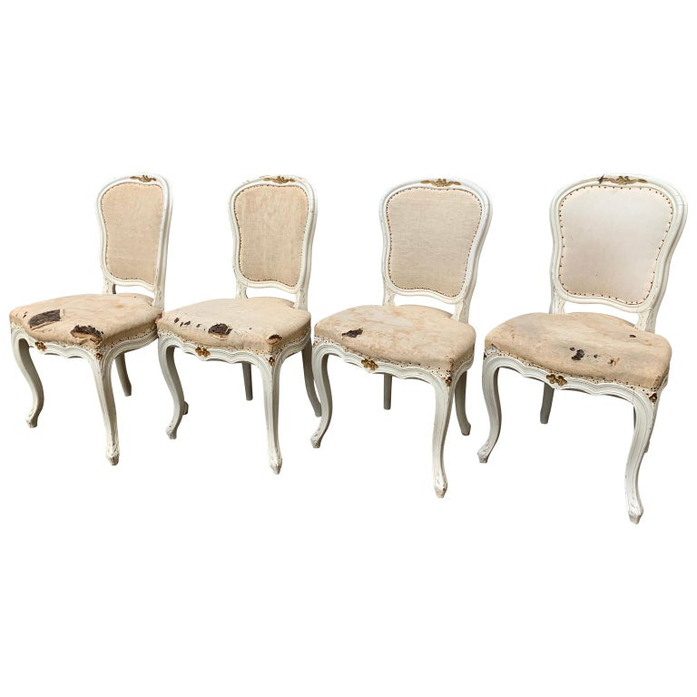 Set of 4 Swedish White Painted 19th Century Rococo Style Chairs For Sale 1