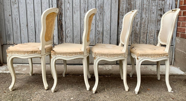 Set of 4 Swedish White Painted 19th Century Rococo Style Chairs For Sale 5