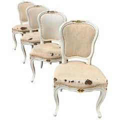 Set of 4 Swedish White Painted 19th Century Rococo Style Chairs