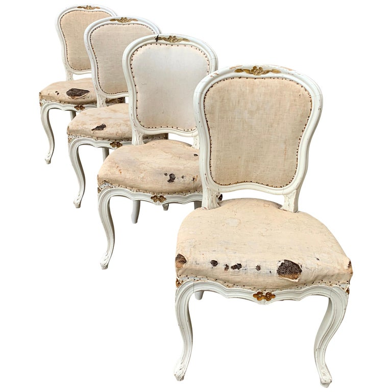 Set of 4 Swedish White Painted 19th Century Rococo Style Chairs For Sale