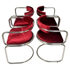 Set of 4 Swiss Modernist Tubular 1970s Dining Chairs by Zougoise Victoria