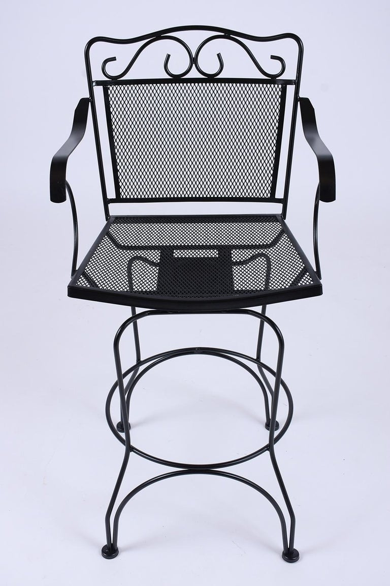 Set of 4 Swivel Bar Stools In Good Condition For Sale In Los Angeles, CA