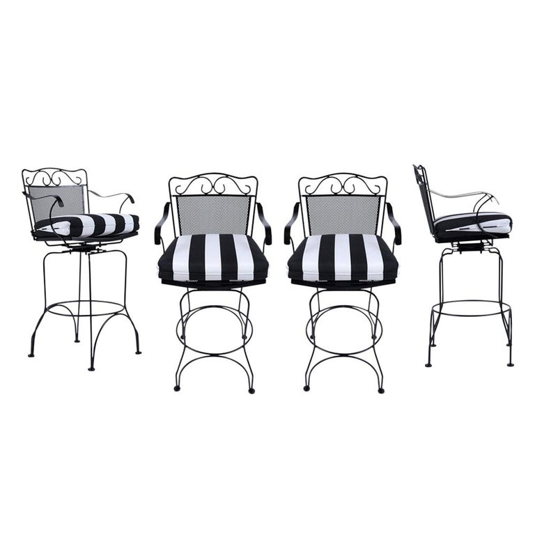 Set of 4 Swivel Bar Stools For Sale