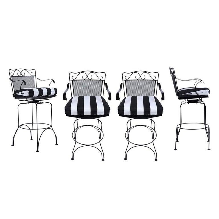 Set of 4 Swivel Bar Stools For Sale