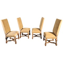Set of 4 Tall Back French Louis XVI Style Painted and Gilded Dining Chairs