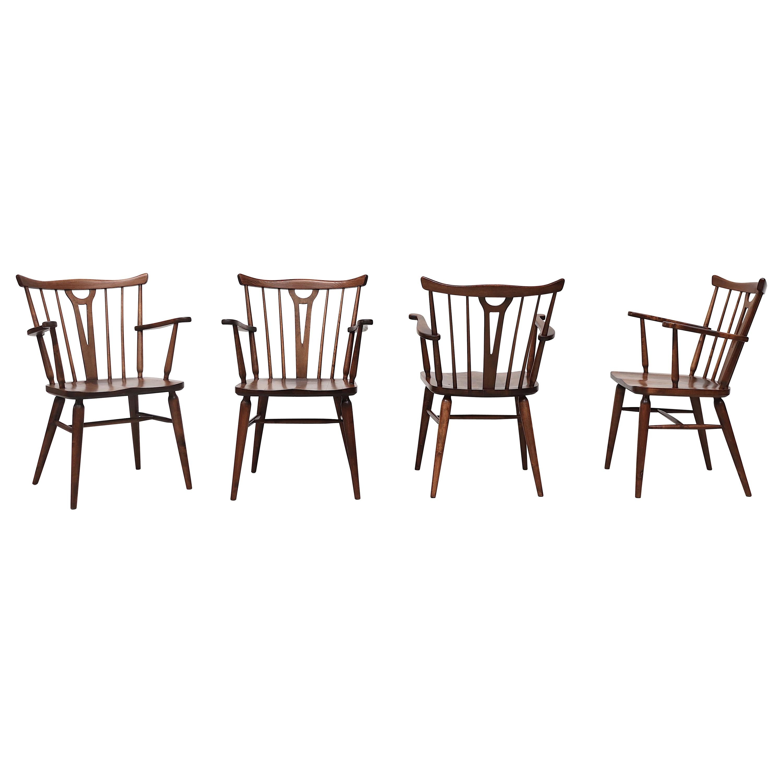 Set of 4 Tapiovaara Style Spindle Back Armchairs