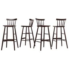 Set of 4 Tapiovaara Style Spindle Back Bar Stools
