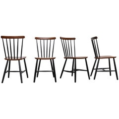 Set of 4 Tapiovaara Style Spindle Back Chairs