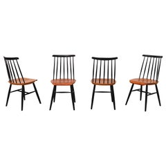Set of 4 Tapiovaara Style Spindle Back Dining Chairs