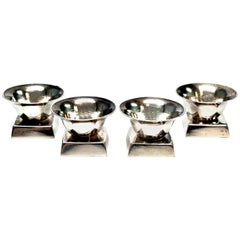 Set of 4 Taxco Mexico William Spratling Sterling Silver Salt Cellars, No Spoon