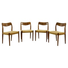Set of 4 Teak Chairs with Papercord Seat by Johannes Andersen for Uldum, Denmark