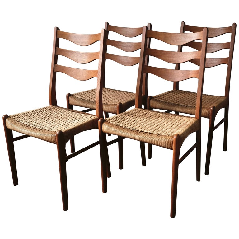4 Dining Room Chairs For Sale: Set Of 4 Teak Dining Chairs By Arne Wahl-Iversen For